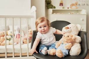 Baby in her room with TY beanie boos