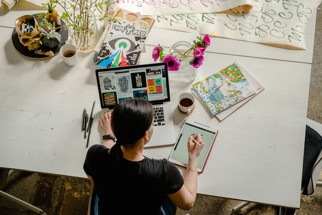 Woman taking affordable diploma of graphic design