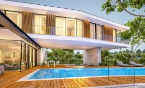 3D image of a modern house with a pool